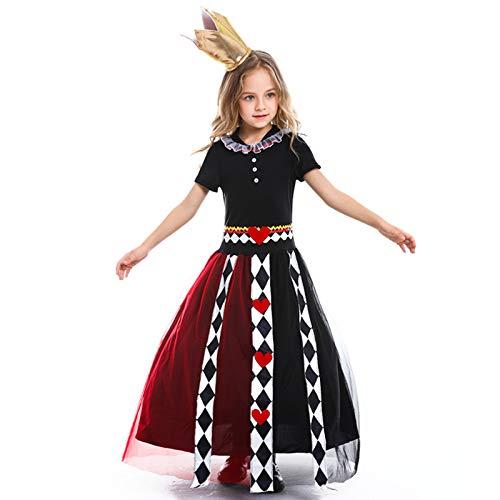 N / A Cosplay Halloween novità Regalo fiaba Alice nel Paese delle Meraviglie Cosplay Tuta Natalizia con Stampa Regina del Poker Body Height:90-105cm
