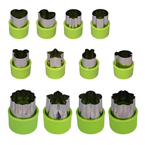 KWOKWEI Gemüse Ausstechformen, 12 Stück Edelstahl Gemüse Obst Ausstecher, Gemüseausstecher/Plätzchen Ausstecher Set mit Anti-Rutsch Schutz Griff, Keksausstecher für Kuchen, Sushi, Gemüse, Obst