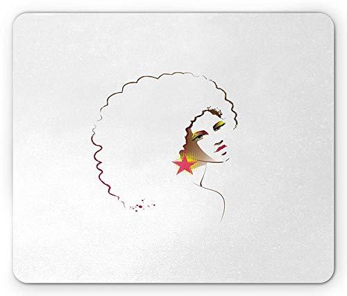 Afro Mouse Pad, Disco Meisje met Afrikaanse Stijl Krullend Haar Ster Oorbel met Abstract Halftone, Rechthoek Mousepad, Multi kleuren