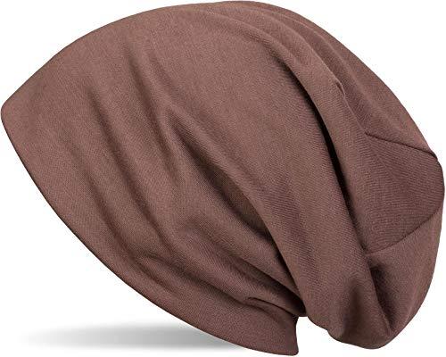 styleBREAKER Klassische Slouch Beanie Mütze, leicht und weich, Longbeanie, Unisex 04024018, Farbe:Braun