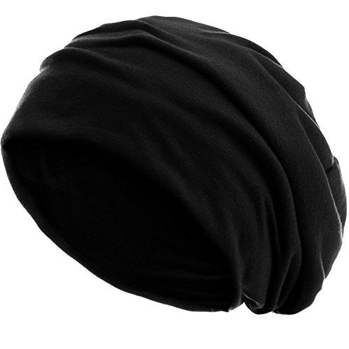 style3 Slouch Beanie aus atmungsaktivem, feinem und leichten Jersey Unisex Mütze Haube Bini Einheitsgröße, Farbe:Schwarz