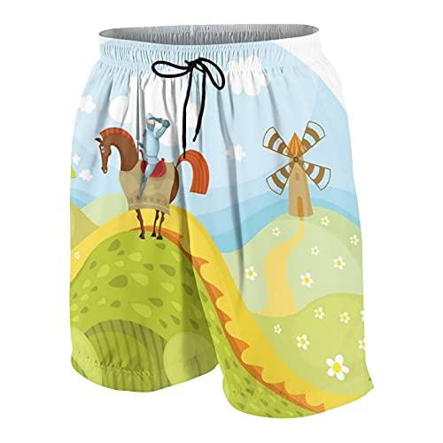 Traje de baño Personalizado para Hombre,Caballero de fantasía Don Quijote con Caballo en Dragon Valley Imagen de Cuento de Hadas Medieval,Ropa de Playa Trajes de baño Shorts de baño Trajes de baño XL