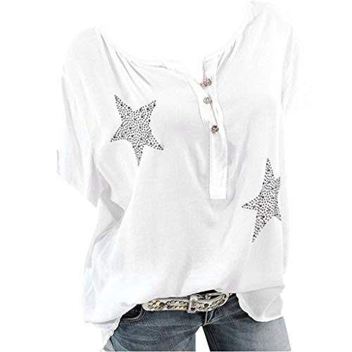 Lowest Prices! CCOOfhhc Women's Summer 3/4 Sleeve Sexy V Neck Star Printed T-Shirts Button Up Chiffon Blouses Tunic Top
