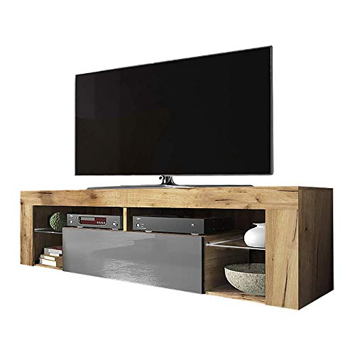 Selsey BIANKO – TV-Lowboard/TV-Schrank in Holz-Optik Lancaster Eiche mit Klappe in Grau Hochglanz Stehend 140cm