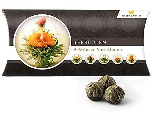6 Teeblumen Geschenk-Box - Grüntee Variationen, Originelle Geschenk-Idee zum Geburtstag, Muttertag, Weihnachten oder Valentinstag, tolles Geschenk nicht nur für Frauen und Teeliebhaber, Teeblüten, Erblühtee