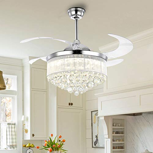 7PM Chrome Crystal Chandelier Fan Modern Retractable Blades Ceiling Fan with Light Remote Control Timing Fandelier Lighting Fixture for Living Room Bedroom 42 Inch