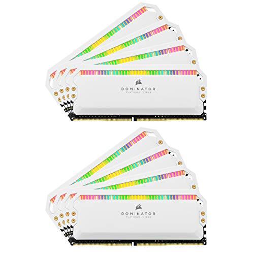 Corsair Dominator Platinum RGB 128GB (8x16GB) DDR4 3200 (PC4-25600) C16 1.35V Desktop Memory - White