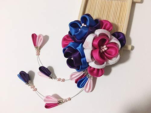 Pince à cheveux japonaise Kanzashi - Fleur en tissu rose Sakura - Décoration de cheveux de mariage - Fabriquée à la main - Pour filles - Geisha Maiko