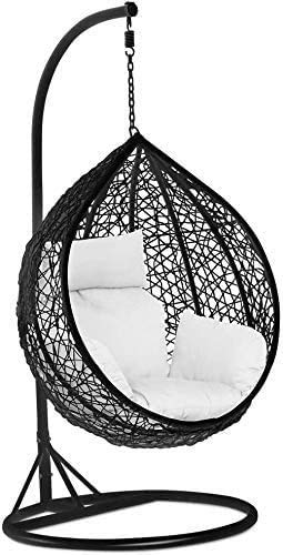 Kedorle Indoor and Outdoor Hanging Chair Rattan Swing Cushion Egg Chair Garden Terrace with Deck and Siding