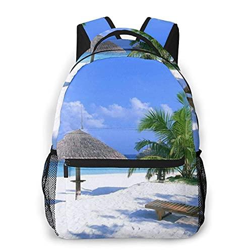 DJNGN Strand Coconut Tree Palm Chair Print Casual Rucksack,Klassischer Tagesrucksack für die Reise mit Flaschenseitentaschen