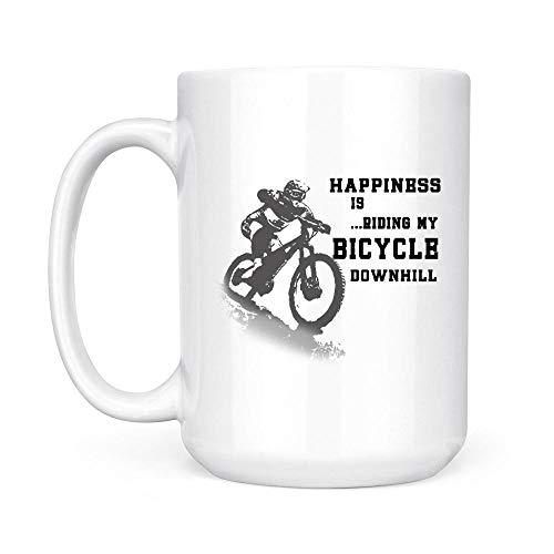 Happiness Is Riding My Bicycle Downhill Mountain Bike Rider White Mug