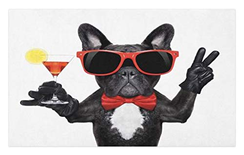 Lunarable Funny Doormat, French Bulldog Holding Martini Cocktail Ready for The Party Nightlife Joy Print, Decorative Polyester Floor Mat with Non-Skid Backing, 30' X 18', White Black