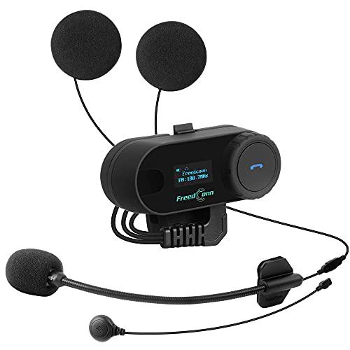 iSinofc Auriculares con intercomunicador Bluetooth para Motocicleta, Intercomunicador de Casco de Alcance 800M Conexión del Conductor con Moto de Nieve para Moto, Pantalla LCD Radio FM Impermeable