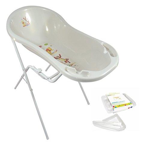 Baby Badewanne XXL 100 cm Disney Winnie Pooh perl weiß + Badewannenständer + Ablaufschlauch