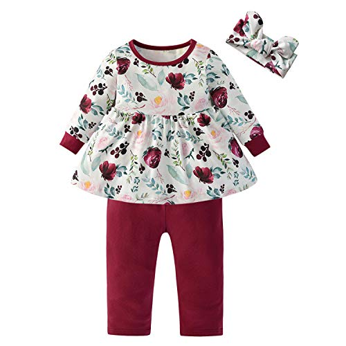 3PCS Baby Girl Clothes Ruffle Floral Shirt Tops Pants Headband Outfit Sets (Wine Red, 6-9 Months)