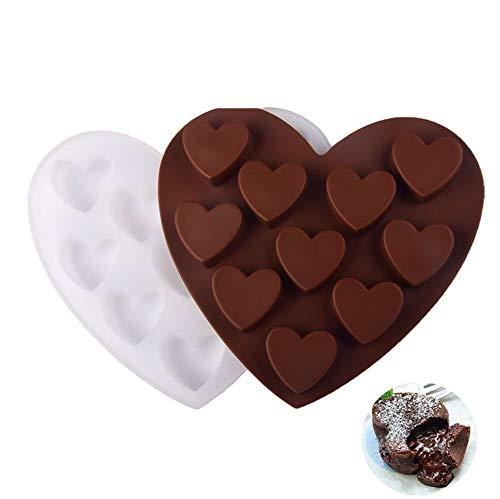 Diamond Heart Silicone Mold,Heart Shape Cake Candy Molds, Chocolate Molds Silicone ,Silicone Baking Pan Mold For Chocolate, Mousse Cake Mold Trays,Silicone 10 Cavity Heart Mould (2pack)