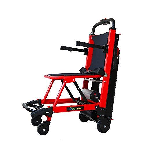DLY Älterer Untauglicher Faltender Elektrischer Rollstuhl-Aluminiumlegierungs-Leichter Faltender Energie-Elektrischer Treppensteiger-Rollstuhl für Untaugliche, Ältere Personen, Gelb, Gelb, rot