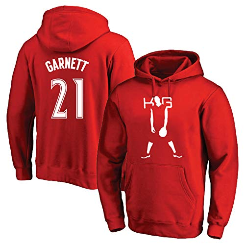 Garnett Basketball Trikot Uniform N. 21, Mori Bell Wolves Sweatshirt mit Herbst und Winter Kapuze mit Kapuze Heißdruck T-Shirt Standard Größe S-3XL Gr. L, rot