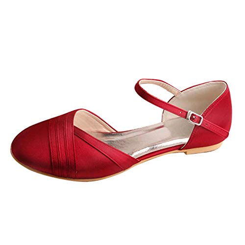 Charmstep Zapatos De Novia para Mujer Correa De Tobillo Bailarinas Punta Redonda...