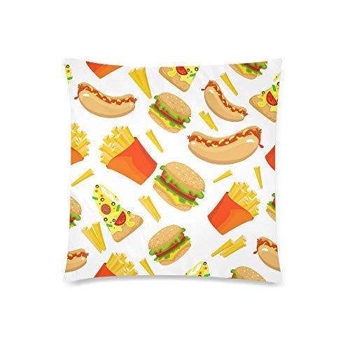 GOSMAO Linda Hamburguesa de Comida rápida, Patata, Perro Caliente y Pizza, decoración, cojín, Funda de Almohada, Funda de 18x18 Pulgadas, Protector de Funda de Almohada
