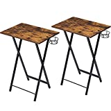 VECELO Foldable TV Tray Portable Wooden Snack Table for Livingroom, Bedroom, Office, Tiny Desk,Set of 2, Rustic Brown