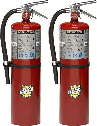 Pack of 2 Buckeye 11340 ABC Multipurpose Dry Chemical Hand Held Fire Extinguisher with Aluminum Valve and Wall Hook, 10 lbs Agent Capacity