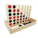 JEVERGN Wooden 4 in a Row Games - Four in a Row Wood Classic Family Fun Toys - Line Up 4 Board Games for Kids