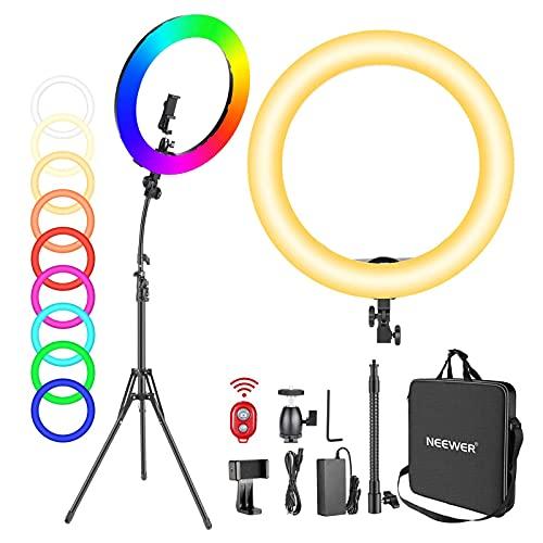 Neewer 18-Zoll RGB Ringlicht mit Ständer, 42W dimmbares zweifarbiges 3200K-5600K CRI97+ LED Ringlicht mit 0-360 Vollfarbe, 9 Spezialszenen Effekt für Selfie/Make-up/Party/Vlog/YouTube-Videoaufnahmen