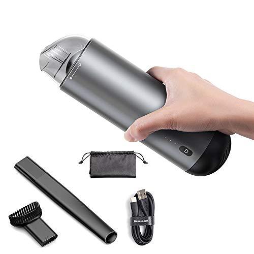LLCX Handstaubsauger Car Hoover Clean Hochleistungs-Absorptionslampe und tragbarer Schnellladestaubsauger Akku-Handstaubsauger für Haushalt und Auto,Silver