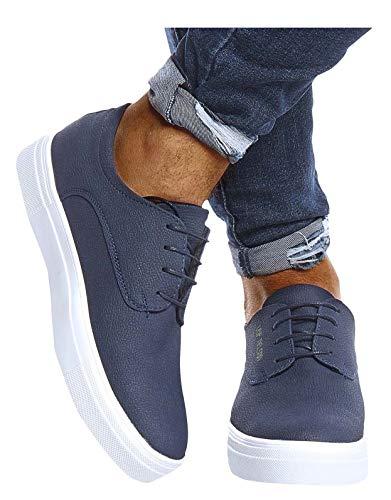 Leif Nelson Herren Schuhe für Freizeit Sport Freizeitschuhe Männer weiße Sneaker Sommer Coole Elegante Sommerschuhe Sportschuhe Weiße Schuhe für Jungen Winterschuhe Halbschuhe LN207 42 D. Blau