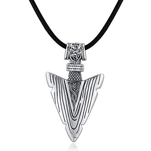 Collar de cuero para hombre, plata de ley 925, collar con colgante de flecha, cadena ajustable, regalo vikingo, regalo para hombres, cumpleaños, Navidad, joyería para hombres, novio y hermano