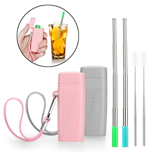 Vantic Portable Reusable Metal Straws- Telescopic Stainless Steel Travel Metal Straw with Carrying Case & Silicone Flex Tip, Cleaning Brush, 2 Pack (Pink & Gray)