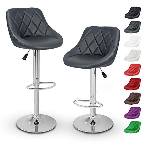 TRESKO Barhocker 2er Set mit Lehne - Barstuhl höhenverstellbar - Hocker für Theke & Küche, Barstühle 360° drehbar - verchromter Stahl, Fußstütze (Grau)