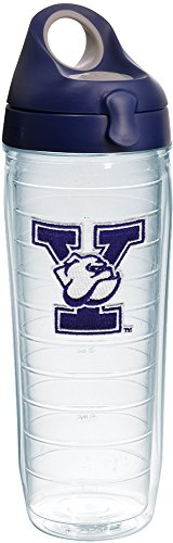 Tervis Yale Bulldogs Logo Insulated Tumbler with Emblem and Navy with Gray Lid, 24oz Water Bottle, Clear