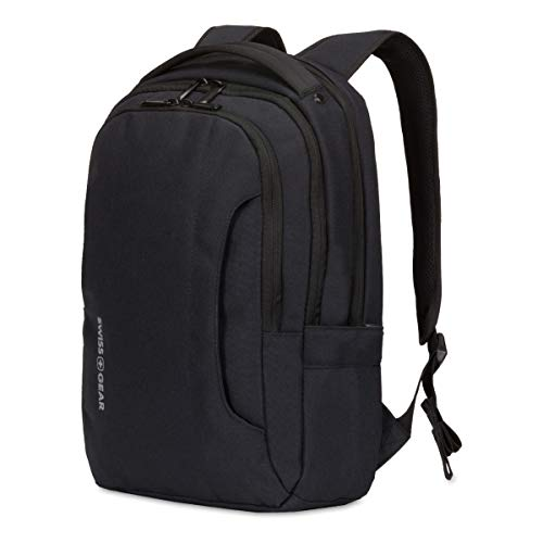 """SWISSGEAR 3573 Compact Laptop Backpack for School and Work, 17"""" x 11.5"""" x 3""""- Black/White Logo"""