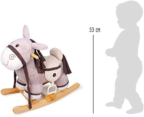 """Schaukelpferd """"Schaukelsheriff""""  aus kuschelweichem Plüsch mit Holzrahmen, lustig knisternden Ohren und Satteltaschen, für tolle Abenteuer und Ausritte - 5"""