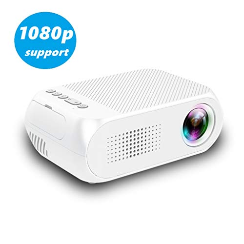 Cxz Mini Portable HD home projector, Ultra HD + 1920 x 1080 pixels, 30 – 60 inch, 23 talen (ondersteunt mobiele telefoons, tablets, laptops, desktops, audio, gameconsoles, dvd's, enz.) wit