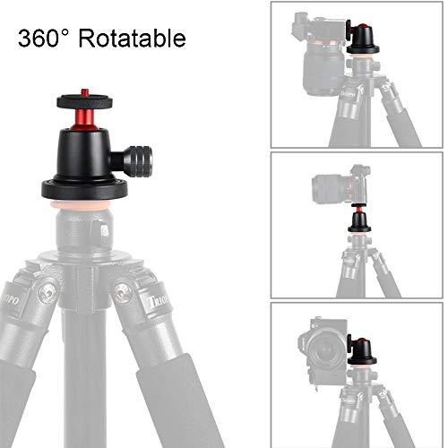 Andoer Mini Aluminiumlegierung Kugelkopf 360 Grad drehbarer Panoramakugelkopf mit Blasenebene für DSLR LIDC Kamera Stativ Handy
