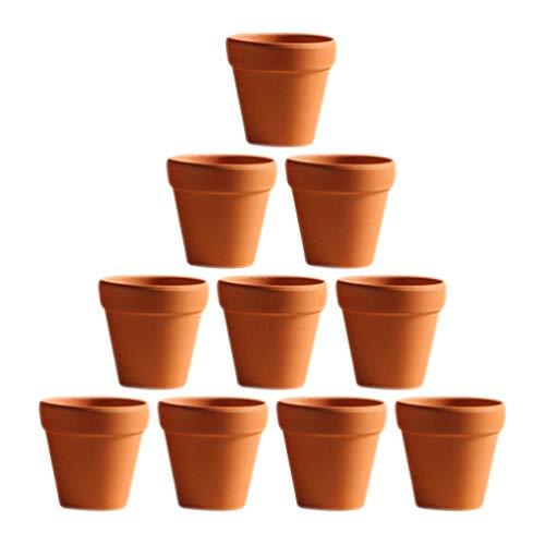 DOITOOL Mini macetas de terracota de arcilla para plantas pequeñas de arcilla, suculentas, soporte de guardería con orificio de drenaje para niños y adultos, herramientas de 5,5 x 5 cm, 10 unidades