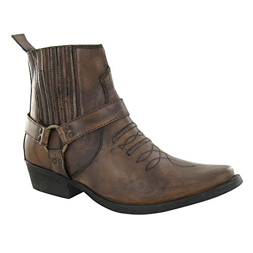 Maverick Mens Cowboy Ankle Boots A3003 - Light Brown Leather, Size 9 UK