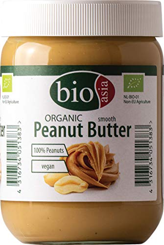 BIOASIA Bio Erdnussbutter – Peanut Butter - aus 100% gerösteten Erdnusskernen, cremig, ohne Zusätze, im Glas, vegan und glutenfrei (2 x 500 g)