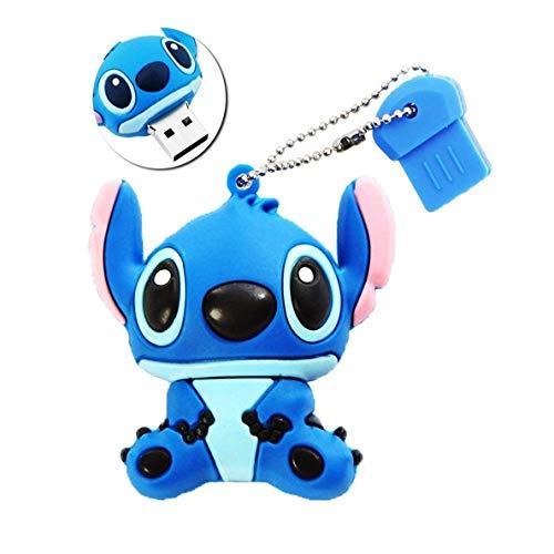 escoo Speicherstick 16 GB DataTraveler USB 2.0 High-Speed Silikon, niedliche Cartoon-Figur Stitch, Blau, blau, 16 GB