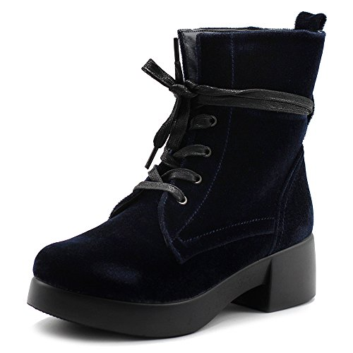Ollio Women's Shoes Velvet Lace Up Ankle Bootie Combat Boots TWB0109 (7 B(M) US, Navy)