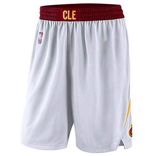 Cleveland Cavaliers Basketball-Shorts, Herren-Stickerei Basketball-Fan-Shorts, professioneller Stretch-Stoff lose atmungsaktiv Wiederholbare Reinigung Freunde-White-M