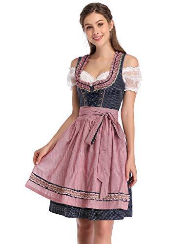 KOJOOIN Trachtenkleid Damen Dirndl Kurz mit Stickerei Exklusives Designer für Oktoberfest - DREI Teilig: Kleid, Bluse, Schürze Dunkelblau 42