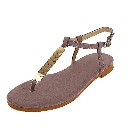 CYNLLIO Sandalias planas para mujer, sandalias bohemias con correa al tobillo, sandalias de playa para mujer, 2lotus Pink, 41.5 EU