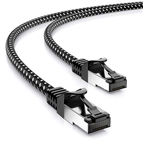 deleyCON 2m RJ45 Nylon Patchkabel Ethernetkabel Netzwerkkabel mit CAT7 Rohkabel S-FTP PiMF Schirmung Gigabit LAN Kabel SFTP Kupfer - Schwarz