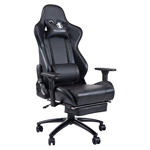 KILLABEE 350lb Massage Gaming Chair Metal Base, Adjustable Massage Lumbar Cushion, Retractable Footrest Big and Tall High Back Ergonomic Leather Racing Computer Desk Chair, Black