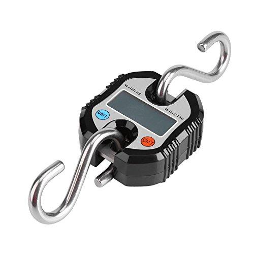 Escala de equipaje Balanza electrónica Pesca digital Escala de gancho para colgar postal Portátil Mini portátil Maleta de viaje digital Escalas Pesas con pantalla LCD para viajes al aire (Negro)