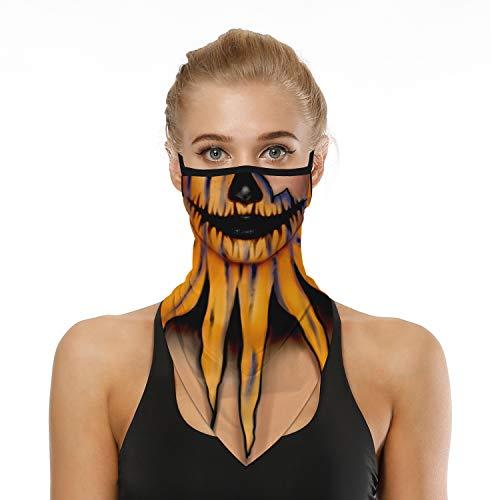 Pumpkin Skeleton Bandana Neck Gaiter Face Mask Ear Loop Triangle Bandanas